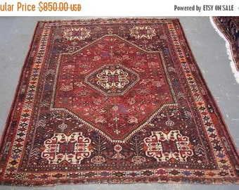 SUMMER CLEARANCE Persian Rug - 1960s Hand-Knotted Shiraz Rug (3258)