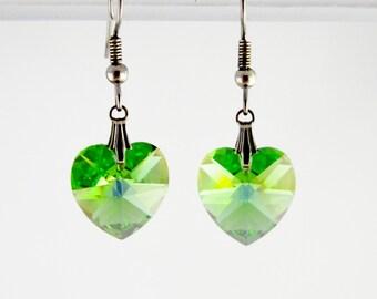 Peridot Green Heart earrings on Sterling Silver 925,  14mm Heart Swarovski Crystal Element, Valentine gift idea, Peridot earrings