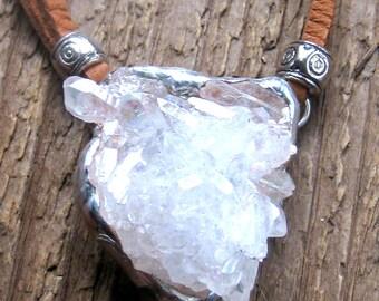 Angel Aura Necklace, Quartz Necklace, Raw Crystal Necklace, Boho Necklace, Crystal necklace, Raw Stone Necklace, Bohemian Jewelry