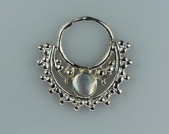 Silver Plated Brass Septum Ring with Mother of Pearl Shell Inlay (brass septum 003)