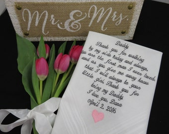 Embroidery 40 words of your choice. Father of the Bride. To my handsome and generous father, You have introduced me to so many of life's....