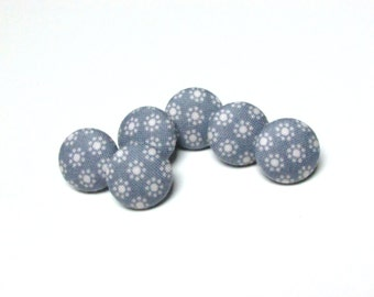 Fabric Buttons, Retro Nina Slate Blue Tilda Fabric Covered Button, Small Sew Sewing Buttons, Sweet Sixteenth, Set of 6 Buttons, Retro style
