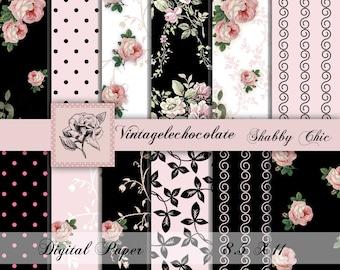 Digital Scrapbook Paper, Pink Shabby Chic  Roses, Digital Scrapbook Vintage, ,Pink and Black Digital Paper Download. No. P112.VA