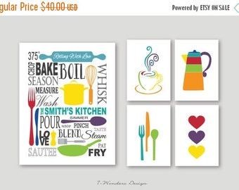 ON SALE Kitchen Art Prints Personalized Subway Art with Coffee, Utensils and Hearts Prints - Set of (5) - 5 x 7's and 11 x 14 // Modern Kitc
