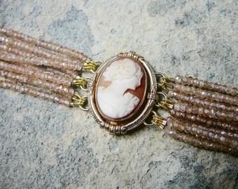 Cameo Bracelet, Cameo Jewelry, Vintage Jewelry, Champagne Zircon Bracelet, Zircon Bracelet, Zircon Jewelry, Gemstone Bracelet, Cuff Bracelet