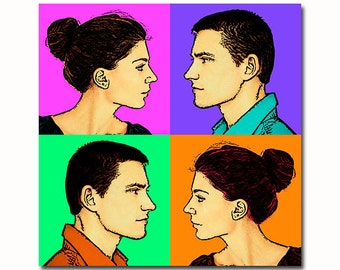 Pop art portrait for couples - from your picture - custom portrait in profile - personalized birthday gift