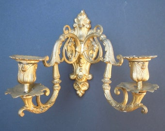 SALE - Pair of Vintage Gilt French Rococo Sconces