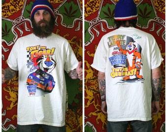 Vintage Nascar Kellogs Tony Labonte T Shirt. White Ovesized Baggy Tony The Tiger Kellogs Nascar Tony Labonte Double Sided Graphic T Shirt