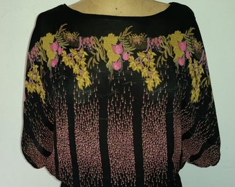 Vintage Nancy Bracoloni Dress Black Semi Sheer Floral Boho Chemise Elastic Waist 100% Rayon Floral Pattern Designed for Je Vous Aime  Size S