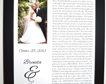 1st First Anniversary Paper Gift for Husband and Wife, Wedding Song Vows First Dance Lyrics Poem Letter Photo Present Daughters 1st