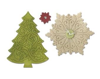 Sizzix - Bigz Die with Bonus Textured Impressions - Christmas Tree & Snowflake by Jen Long