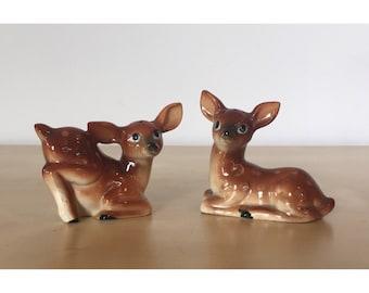 Vintage Ceramic Deer Salt and Pepper Shakers