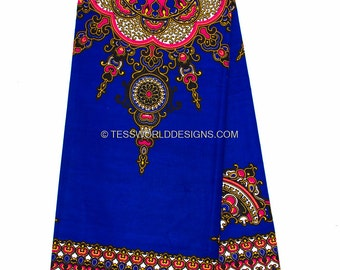 """Royal Blue Dashiki African Fabric Sold per panel ( 32"""" X 46.5"""") / for African clothing/ African Maxi Skirt/ Star dashiki/  DS11B"""
