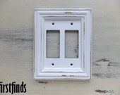 Framed Double Switch Plate Ornate Shabby Chic White Electrical GFI Cottage Painted Cover Vintage Plastic Wood Wall Light Decor DETAILS BELOW