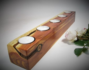 Minimalist five tea light candle holder. Rustic juniper wood tea light candle holder.