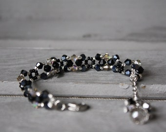 Woven bracelet - black and clear - the era of jewelry - Crystal - Chic - shine - delicate - Classy