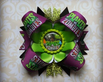 Plants vs Zombies stacked layered hair bow