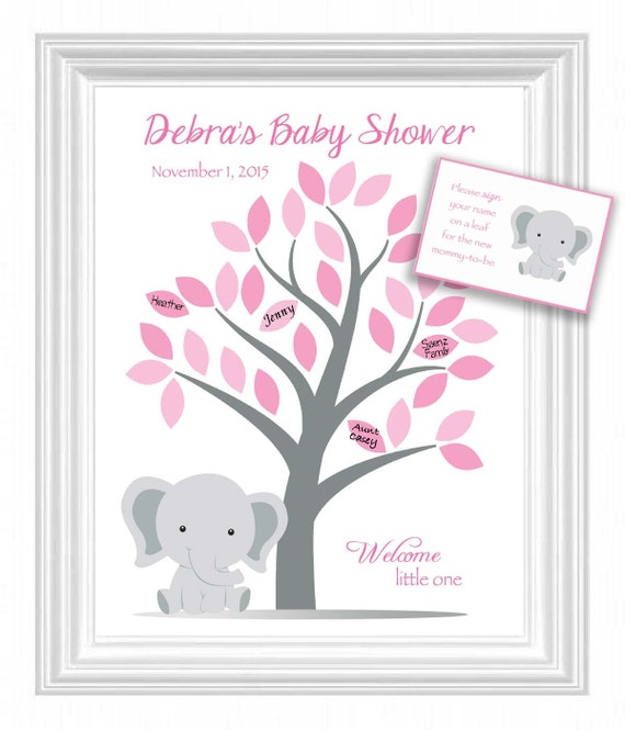 baby shower guest 11x14 sign in tree poster elephant baby shower