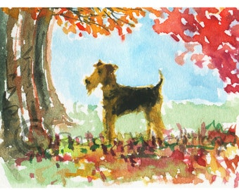 Airedale Terrier Dog in Autumn  Art Print 8 X 6