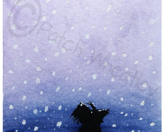 Scottish Terrier Dog  Art Print 'Scottie Dog in the snow' #149