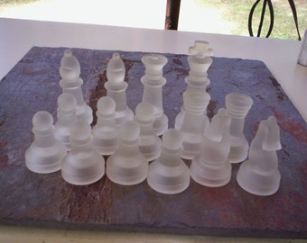 Vintage glass chess figurines/Altered art supply/Glass chess pieces/Glass figure/chess supply/Chessman/Game pieces/Craft supply/Mixed media