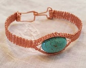 Wire woven turquoise Marchasite bracelet