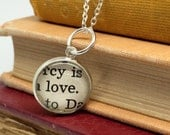 Love Message Charm - Love Pendant - Love Book Charm - Love Jewelry Supplies - Upcycled Books - Recycled Books - Mini Book Charm - Mini Love