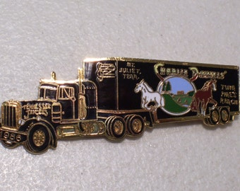 Vintage Mt. Juliet Twin Pines Ranch Tennessee Jaycees Charlie Daniels Band Gold Tone Enamel Semi Truck Lapel Pin, 1986