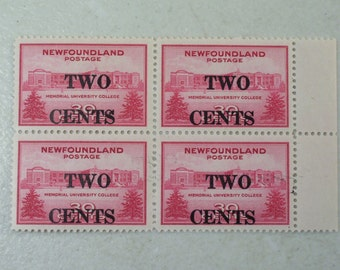1946 Newfoundland  Postage Stamp Block of 4, Memorial University College, MNH, Scott # 268, 2 Cents Surcharged