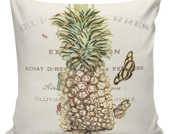 Pillow Cover Spring Throw Pillow Cushion Cover Botanical Pineapple Antique Cotton Front with Burlap or Cotton Back #EHD0143 Elliott Heath
