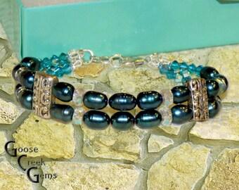 Teal Freshwater Pearl Double Strand Bracelet