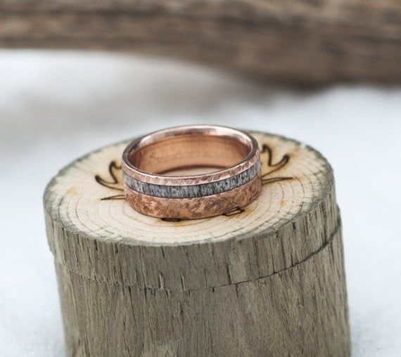 Mens Wedding Band 10K Gold Amp Elk Antler Ring W Hammered