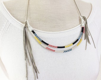 Duble Wrap bib necklace -asymmetric necklace - pendants - tribal necklace - recycled electrical wire