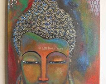 Buddha in a white robe - Acrylic on canvas