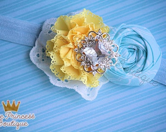 x { Daydreams } Headband, Baby Headband, Photography Prop, Couture Headband, Hair Clip, Rolled Rosette Headband, Yellow and Baby Blue