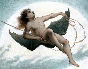 Bat Fairy Fabric Block | Flies Across Full Moon | Victorian Faerie Fabric