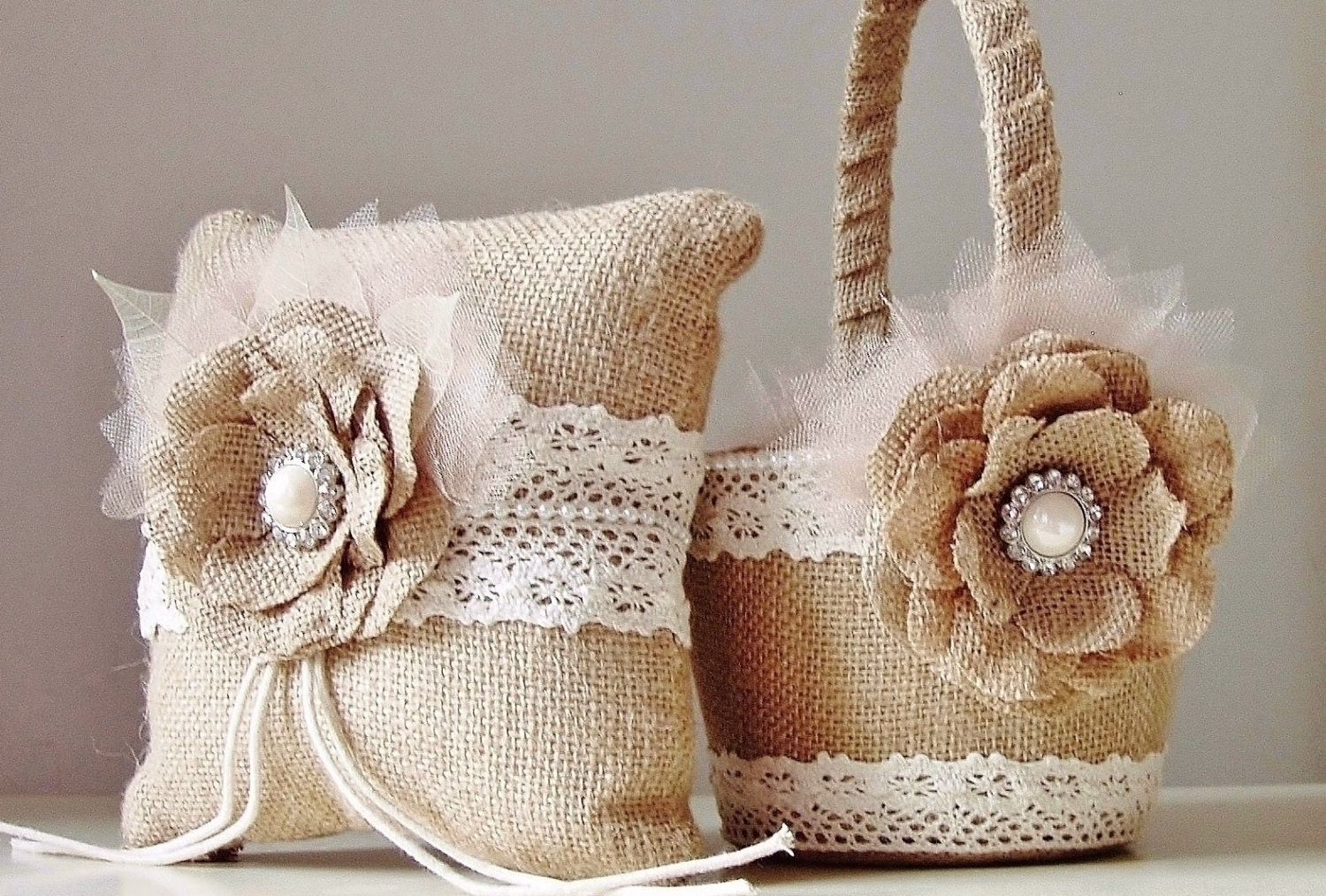 Flower Girl Baskets Burlap : Burlap flower girl basket ring bearer pillow rustic