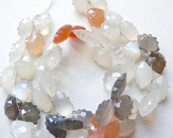 sale Multi moonstone carved fancy gemstone briolettemoonstone carved fan heart briolette-4 white color No.246