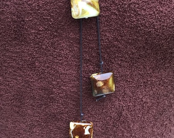 Dessert Agate Lariat, Handmade Leather Lariat, Warm Taupe Agate Lariat, Spicy Mustard Agate Lariat Scottish Jewellery, Edinburgh jewellery