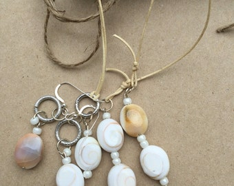 Shiva Shell Lariat and Earring Set, Shell Jewellery Set, Handmade Jewellery Set, K Brown Jewellery