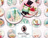 75% OFF SALE Digital Collage HAPPY Christmas 1 Inch circles Santa Claus Snowman Bottlecaps Magnets Instant Download