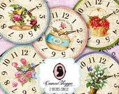 75% OFF SALE Digital collage sheet circle SHABBY Old Clocks 2 inches Digital Scrapbooking Tags Instant Download