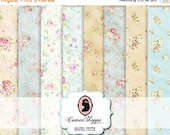 75% OFF SALE DIGITAL Paper Digital Collage Sheet set of 8 Shabby Romantic Roses Background 5x7 inches images Scrapbooking