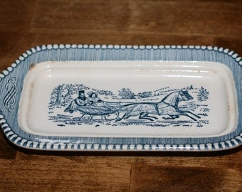 Currier and Ives Royal Blue China 1/4 Pound Butter Dish