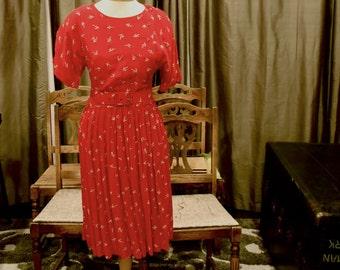 Red Vintage 1980s Dress
