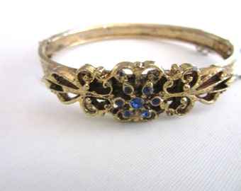 Rhinestone Hinged Bangle Bracelet Engraved Gold Tone Flowers