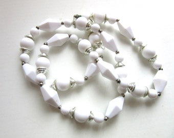 Long White Lucite Bead Necklace Silver Detail Single Strand 25 - 27 Inches