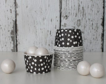 CANDY CUPS - Black with White Dots - Set of 20 : The Paper Doll