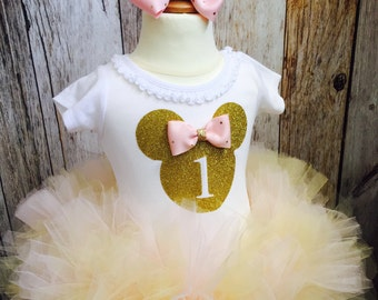 Minnie Mouse Inspired Pink and Gold Birthday Tutu Dress Infant Toddlers Girls Long Sleeves Available