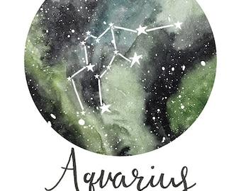 Aquarius - Zodiac Constellations Archival Art Print